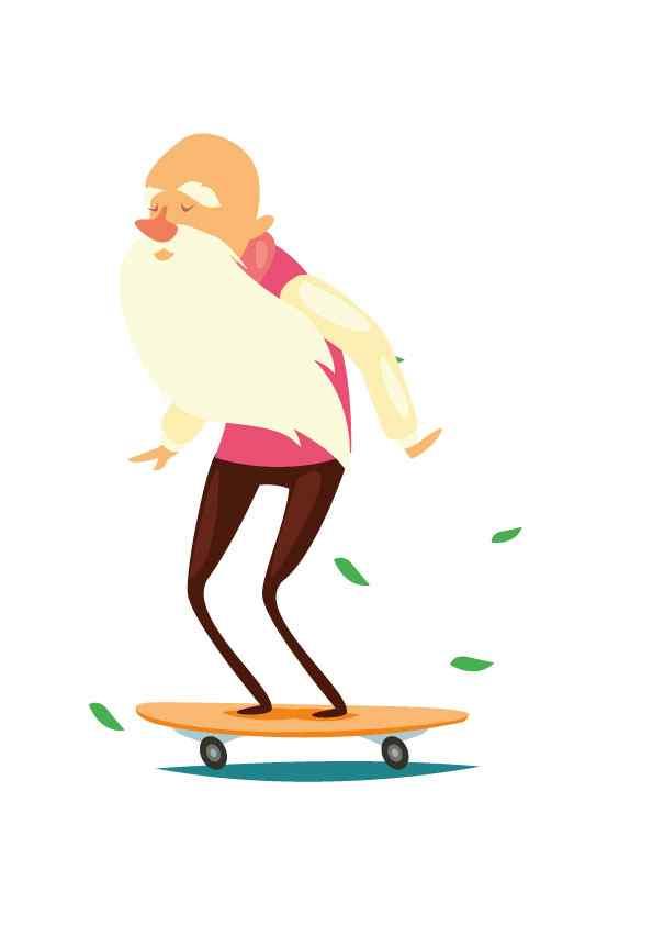 Anciano en patinete